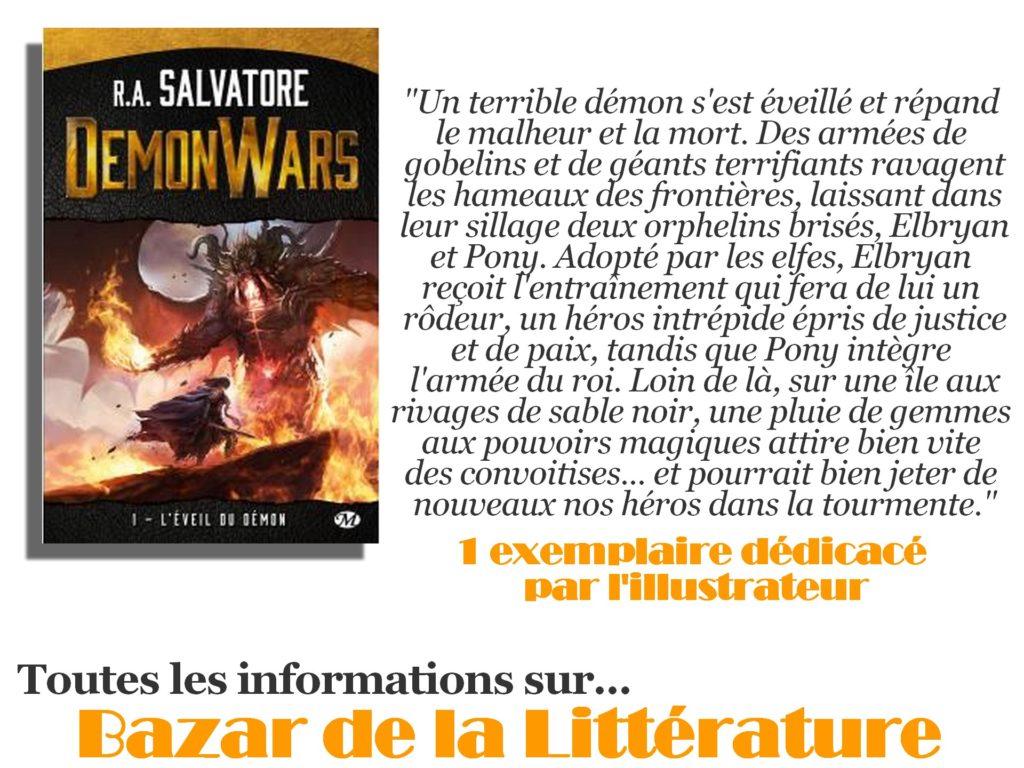 concours 10 ans bazar de la litterature r a salvatore demon wars tome 1