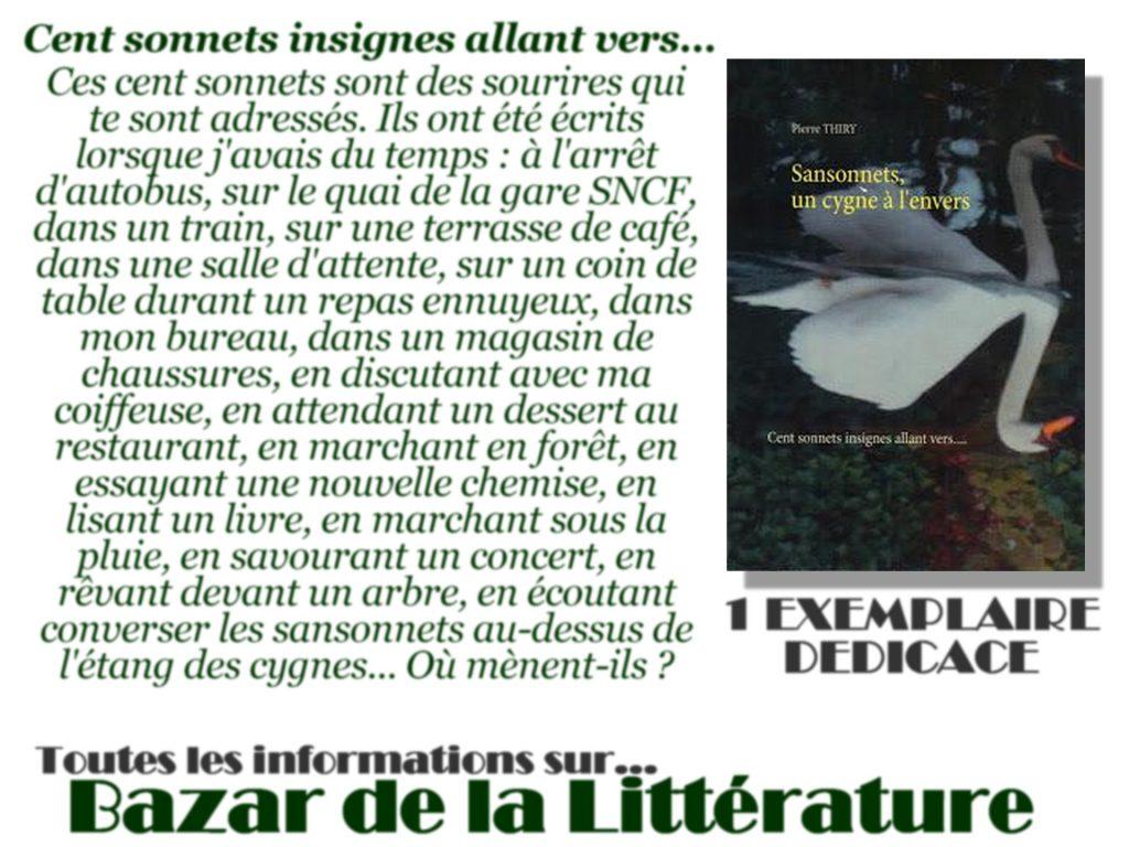 concours 10 ans bazar de la litterature sansonnets un cygne à l'envers pierre thiry