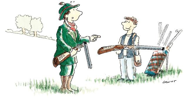 """""""Un changeur de fusil d'épaule : Énième déclinaison des us et coutumes aristocratiques, le changeur de fusil d'épaule suivait, tel un caddie de golfeur de l'époque, le noble qui partait en chasse. Quand celui-ci sentait la fatigue ou les fourmillements lui engourdir le bras, son serviteur attentionné prenait l'arme et la portait le temps qu'il jugeait opportun. Cette occupation, cruciale à la bonne santé physique et morale de l'aristocratie européenne, était également dénommée « Passage d'arme à gauche ». Voir aussi : Crieur au loup, Passeur d'arme à gauche, Poseur de lapin."""""""