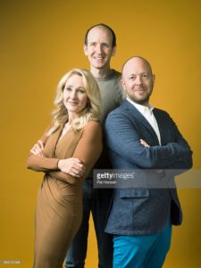 LONDON, ENGLAND - JUNE 05: Writers JK Rowling, Jack Thorne and John Tiffany are photographed for the Observer on June 5, 2016 in London, England. (Photo by Pal Hansen/Contour by Getty Images)